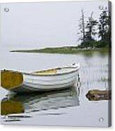 White Boat On A Misty Morning Acrylic Print