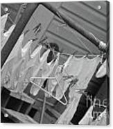 White  Cotton Laundry Blowing In The Wind Acrylic Print