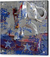 White Elephant Ride Abstract Acrylic Print