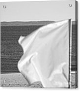 White Flag In Black And White Acrylic Print