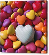 White Heart Candy Acrylic Print by Garry Gay