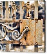 White Iron Gate Details Acrylic Print