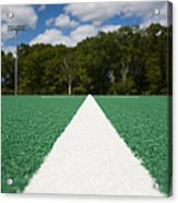 White Line On An Athletic Field Acrylic Print by Sam Bloomberg-rissman