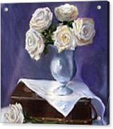 White Roses In A Silver Vase Acrylic Print