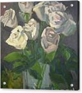 White Roses Acrylic Print by Lilibeth Andre