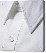 White Shirt Collar Detail. Acrylic Print by Ballyscanlon