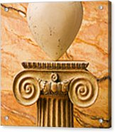 White Stone Heart On Pedestal Acrylic Print