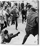 White Students Running Toward An Acrylic Print