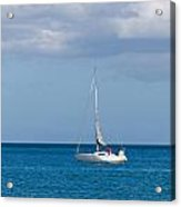 White Yacht Sails In The Sea Along The Coast Line Acrylic Print