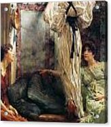 Who Is It Acrylic Print by Sir Lawrence Alma-Tadema