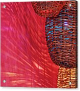 Wicker Light Shades And Pink Wall Acrylic Print