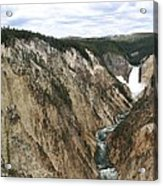 Wide View Of The Lower Falls In Yellowstone Acrylic Print