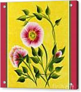 Wild Roses On Yellow With Borders Acrylic Print