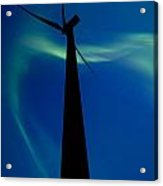 Wind Farm And Northern Lights Acrylic Print