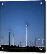 Wind Farm At Night Acrylic Print by Keith Kapple