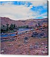 Wind River And Horses Acrylic Print