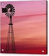 Windmill Silhouette Against Coloured Sky Acrylic Print
