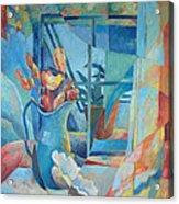 Window In Blue Acrylic Print