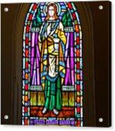 Window In Trinity Church V Acrylic Print by Steven Ainsworth