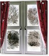 Window View To A Snow Scene Acrylic Print
