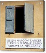 Window Where Marconi Transmitted Radio Acrylic Print