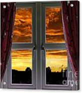 Window With Fiery Sky Acrylic Print