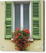 Window With Shutter Flowers Acrylic Print