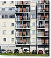 Windows  Balconies  Cars And Lawn  Of A Multiroom Apartment Hous Acrylic Print