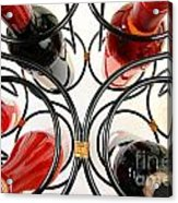 Wine Bottles In Curved Wine Rack Acrylic Print