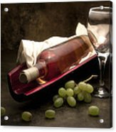 Wine With Grapes And Glass Still Life Acrylic Print by Tom Mc Nemar