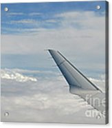 Wings Of Flying Airplane Over Clouds Acrylic Print