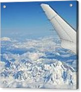 Wings Of Flying Airplane Over French Alps Acrylic Print