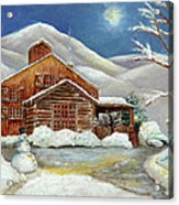 Winter At The Cabin Acrylic Print
