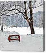 Winter Beach Sign Acrylic Print by Aimee L Maher Photography and Art Visit ALMGallerydotcom