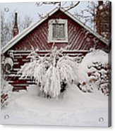 Winter Cabin  Acrylic Print by Wesley Hahn