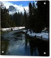 Winter Half Dome And The Merced River Acrylic Print by Jeff Lowe