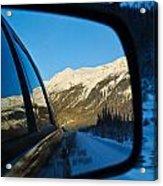 Winter Landscape Seen Through A Car Mirror Acrylic Print