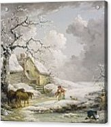 Winter Landscape With Men Snowballing An Old Woman Acrylic Print