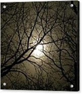 Winter Moon On A Cold Foggy Winter Night Acrylic Print