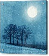 Winter Moon Over Farm Field Acrylic Print