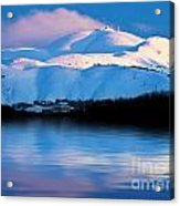 Winter Mountains And Lake Snowy Landscape Acrylic Print by Anna Om
