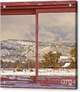 Winter Rocky Mountain Foothills Red Barn Picture Window Frame Ph Acrylic Print