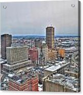 Winter Scene Downtown Buffalo Acrylic Print