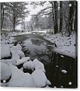 Winter Scene Of Creek With Snow-covered Acrylic Print