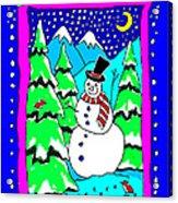 Winter Snowman Acrylic Print