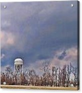 Winter Water Tower Sky Acrylic Print
