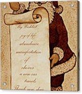 Wishlist For Santa Claus  Acrylic Print by Georgeta  Blanaru