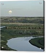 With A Full Moon Rising, The Meandering Acrylic Print