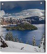 Wizard Island After Summer Snowfall Acrylic Print