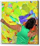 Woman Adjusting A Painting Acrylic Print by Sami Sarkis